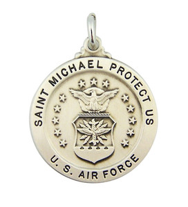 Sterling Silver Saint Michael U.S. Air Force Military Medal, 14/16 Inch