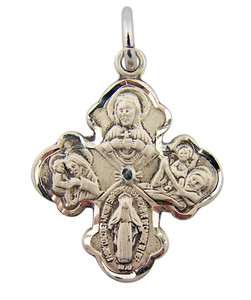 Sterling Silver Four 4-Way Medal Pendant with Sacred Heart Center, 13/16 Inch