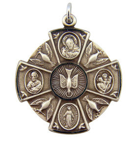 Sterling Silver Round Four 4-Way Cross Holy Spirit Dove Medal, 1 1/4 Inch