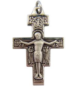 Sterling Silver Saint St Francis San Damiano Cross Crucifix Pendant, 1 1/4 Inch