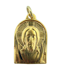 Gold over Sterling Silver Shroud of Turin Jesus Christ Medal, 13/16 Inch