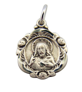 Sterling Silver Sacred Heart of Christ Baroque Stlye Scapular Medal, 5/8 Inch