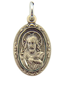Sterling Silver Scapular Medal with Our Lady of Mt Carmel, 3/4 Inch