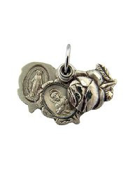 Sterling Silver Triple Slide Rosebud Miraculous and Scapular Multi Medal, 9/16 Inch