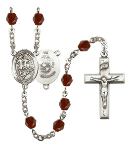 September Birthstone Bead Rosary Bracelet with Saint Joseph Charm, 7 1/2 Inch
