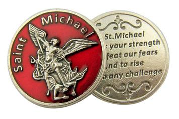 Red Enamel Catholic Archangel Saint Michael Pocket Token, 1 1/8 Inch