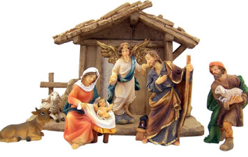 Holy Family with Angel Shepherd Cow and Lamb in Manger Resin Nativity Set, 8 Inch
