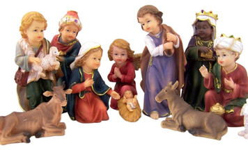 Childlike Holy Family with Three Kings and Shepherd 11 Piece Resin Nativity Set, 8 Inch