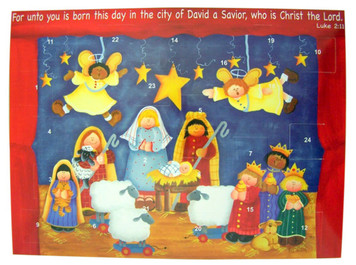 "Born This Day Christ the Lord 10"" Christmas Advent Calendar with Die Cut Pull Tabs"
