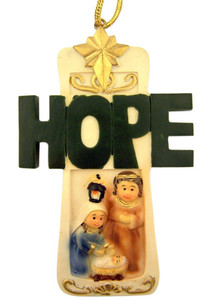 "Hope Cross with Holy Family Nativity 4"" Painted Resin Christmas Tree Ornament"