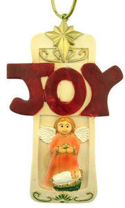 "Guardian Angel w Infant Jesus Christ Joy Cross 4"" Resin Christmas Tree Ornament"