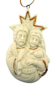 "Holy Family with Star 3 1/2"" White Porcelain Nativity Christmas Tree Ornament"