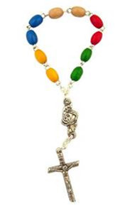 Multi Color Wooden Prayer Bead 3 3/4 Inch World Mission One Decade Rosary