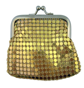 Gold Metal Mesh Rosary Case with Lined Interior and Clasp Close, 3 1/2 Inch