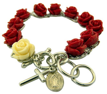 Acrylic Rosebud Toggle Rosary Bracelet with Miraculous Medal and Crucifix, 8 Inch