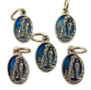 Blue Enamel Our Lady of Lourdes Medal Charm Pendant, Set of 5, 5/8 Inch