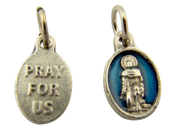 Blue Enamel Saint Peregrine Pray for Us Medal Charm Pendant, Set of 5, 5/8 Inch