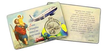 "Laminated Catholic Patron Saint Christopher 3 3/8"" Holy Prayer Card with Medal"