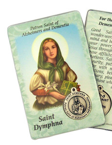 "Catholic Patron of Alzheimers Saint Dympha 3 3/8"" Holy Prayer Card with Medal"