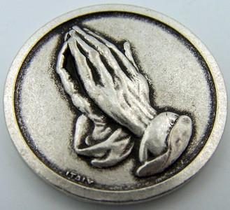 Catholic Medal Charm Prayer Pocket Token Serenity Courage Prayer Antiqued Silver Tone
