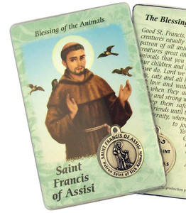 "Laminated Catholic Saint Francis of Assisi 3 3/8"" Holy Prayer Card with Medal"