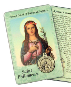 "Catholic Saint Philomena Patron of Infants 3 3/8"" Holy Prayer Card with Medal"