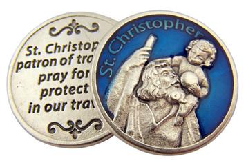 Blue Enamel Patron of Travel Saint Christpher Pocket Token, 1 1/8 Inch