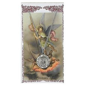 Saint Michael 3/4-inch Pewter Medal Pendant Necklace with Holy Prayer Card