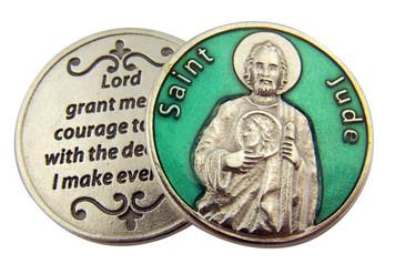 Green Enamel Catholic Patron Saint Jude Pocket Token, 1 1/8 Inch