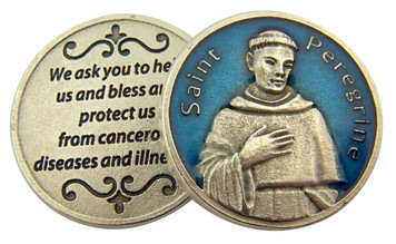 Blue Enamel Patron of Cancer Saint Peregrine Pocket Token, 1 1/8 Inch