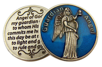 Blue Enamel Guardian Angel Pocket Token with Prayer, 1 1/8 Inch