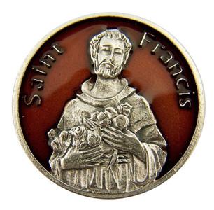 Red Enamel Patron of Animals Saint Francis Pocket Token, 1 1/8 Inch