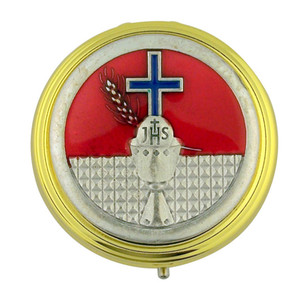 "Gold Plate 2 1/4"" Eucharist Pyx with JHS Chalice and Blue Enamel Cross Medal"