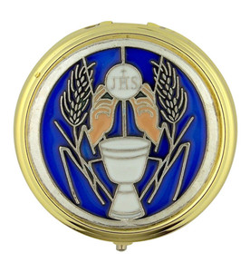 Gold Plate Eucharist Pyx with Blue Enamel Chalice and JHS Host Medal, 2 1/4 Inch