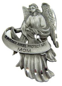 Antique Finish Pewter Guardian Angel Protect My Mom Auto Visor Clip Travel Protection