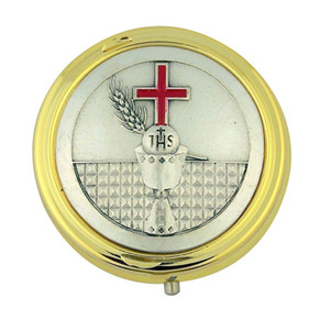 Gold Plate Eucharist Pyx with JHS Chalice and Red Enamel Cross Medal, 1 7/8 Inch