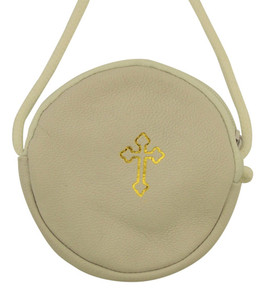 Gold Stamped Cross Leather Rosary or Pyx Case with Strap, White, 3 3/4 Inch