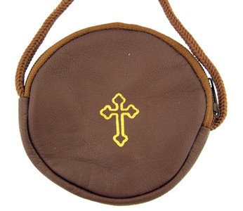 Gold Stamped Cross Leather Rosary or Pyx Case with Strap, Brown, 3 3/4 Inch