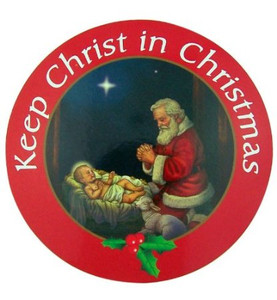 "Keep Christ in Christmas Kneeling Adoring Santa 6"" Auto Magnet Holiday Decal Decoration"