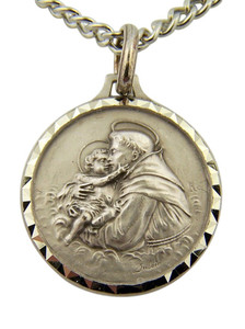 French Nickel Silver Catholic Patron Saint Anthony Medal Pendant, 1 Inch
