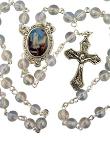 "Acrylic Prayer Bead 17"" Rosary w Catholic Our Lady of Fatima Medal Centerpiece"