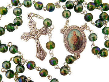 "Acrylic Prayer Bead 17"" Rosary with Catholic Saint Jude Medal Centerpiece"