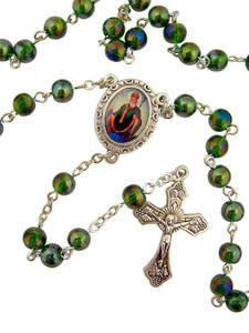 "Acrylic Prayer Bead 17"" Rosary with Catholic Saint Patrick Medal Centerpiece"
