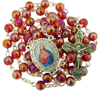 "Acrylic Prayer Bead 17"" Rosary with Sacred Heart of Jesus Medal Centerpiece"