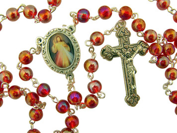 Acrylic Prayer Bead Rosary with Catholic Divine Mercy Medal Centerpiece, 17 Inch