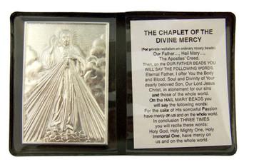 "Metal Catholic Divine Mercy 2 1/4"" Plaque w Prayer in Leatherette Pocket Folder"