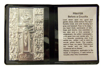"""Metal Stations of the Cross 2 1/4"""" Plaque w Prayer in Leatherette Pocket Folder"""