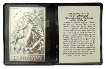 "Metal Catholic Saint Anthony 2 1/4"" Plaque w Prayer in Leatherette Pocket Folder"