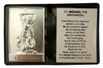 "Metal Saint Michael the Archangel 2 1/4"" Plaque w Prayer in Leatherette Folder"