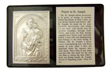 "Metal Catholic Saint Joseph 2 1/4"" Plaque w Prayer in Leatherette Pocket Folder"